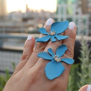 New Blue Alloy Acetate Lily flower spring earrings